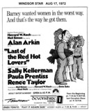 """WINDSOR STAR AD FOR """"LAST OF THE RED HOT LOVERS"""" DEVONSHIRE 1 THEATRE"""