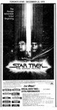 """TORONTO STAR AD FOR """"STAR TREK"""" HOLLYWOOD AND OTHER THEATRES"""