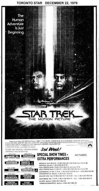 """TORONTO STAR AD FOR """"STAR TREK"""" IMPERIAL AND OTHER THEATRES"""