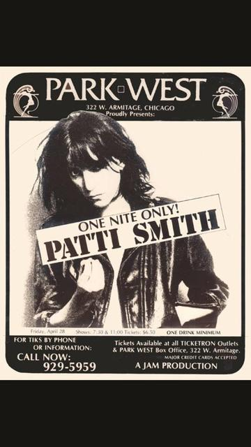 1978 Patti Smith poster designed by and courtesy of long time Chicago graphic artist Shelley Howard.