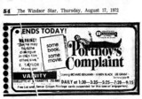 "WINDSOR STAR AD FOR""PORTNOY'S COMPLAINT"" - VANITY THEATRE"