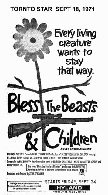 "TORONTO STAR AD FOR ""BLESS THE BEAST AND THE CHILDREN"" HYLAND THEATRE"