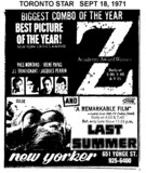 "TORONTO STAR AD FOR ""Z"" & ""LAST SUMMER"" - NEW YORKER THEATRE"