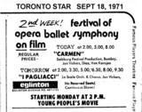 TORONTO STAR AD FOR OPERA, BALLET ETC - EGLINTON THEATRE