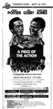 "TORONTO STAR AD FOR ""A PIECE OF THE ACTION"" - UPTOWN 2 AND OTHER THEATRES"