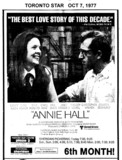"TORONTO STAR AD FOR ""ANNIE HALL"" - PLAZA 2 THEATRE"