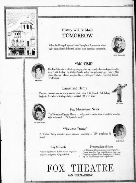 September 21st, 1929 grand opening ad