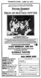 "TORONTO STAR AD FOR ""PETER RABBIT AND THE TALES OF BEATRIX POTTER"" - GLENDALE THEATRE"