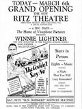 March 6th, 1930 grand opening ad as Ritz