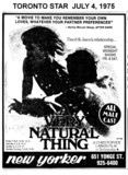 "TORONTO STAR AD FOR ""A VERY NATURAL THING"" - NEW YORKER"