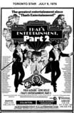 """TORONTO STAR AD FOR """"THAT'S ENTERTAINMENT PART 2"""" EGLINTON AND SHERATON 2 THEATRES"""