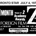 "TORONTO STAR AD FOR ""Z"" - INTERNATIONAL CINEMA"