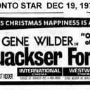 "TORONTO STAR AD FOR ""QUACKSER FORTUNE"" - INTERNATIONAL CINEMA"