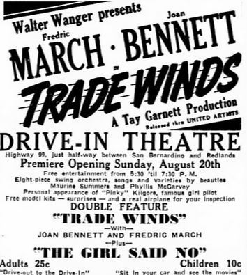 Grand opening ad as Drive-In from August 20th, 1939