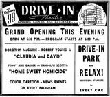 Grand opening ad as Drive-In from January 1st, 1947