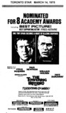 "TORONTO STAR AD FOR ""THE TOWERING INFERNO"" HOLLYWOOD AND OTHER THEATRES"