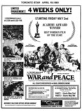 "TORONTO STAR AD FOR ""WAR AND PEACE"" - CAPRI THEATRE"
