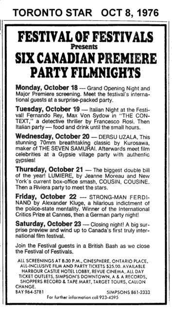 """TORONTO STAR AD FOR """"ONTARIO PLACE SPECIAL SCREENINGS FESTIVAL OF FESTIVALS"""""""