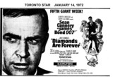 "TORONTO STAR AD FOR ""DIAMONDS ARE FOREVER"" CARLTON THEATRE"