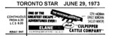 "TORONTO STAR AD FOR ""POSEIDON ADVENTURE"" ELANE THEATRE"