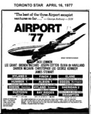 "TORONTO STAR AD FOR ""AIRPORT '77"" HUMBER AND OTHER THEATRES"