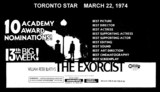 "TORONTO STAR AD FOR ""THE EXORCIST"" UNIVERSITY THEATRE"