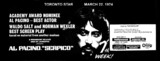 "TORONTO STAR AD FOR ""SERPICO"" HOLLYWOOD AND OTHER THEATRES"