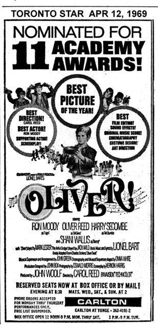 """TORONTO STAR AD FOR """"OLIVER - RESERVED SEATS"""" CARLTON THEATRE"""