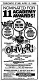 "TORONTO STAR AD FOR ""OLIVER - RESERVED SEATS"" CARLTON THEATRE"