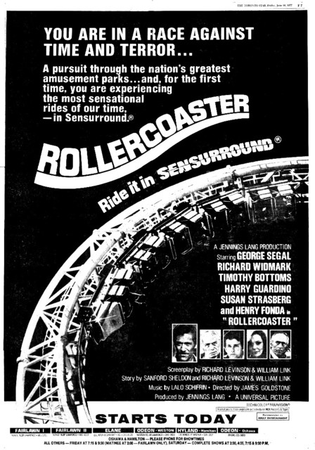 """TORONTO STAR AD FOR """"ROLLERCOASTER"""" ELANE AND OTHER THEATRES"""