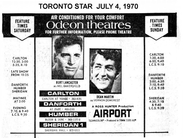 """TORONTO STAR AD FOR """"AIRPORT"""" HUMBER AND OTHER THEATRES"""