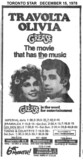 "TORONTO STAR AD FOR ""GREASE"" GOLDEN MILE AND OTHER THEATRES"