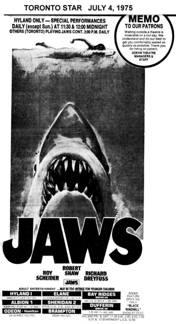 """TORONTO STAR AD FOR """"JAWS"""" ELANE AND OTHER THEATRES"""