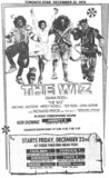 """TORONTO STAR AD FOR """"THE WIZ"""" FAIRLAWN 1 AND OTHER THEATRES"""