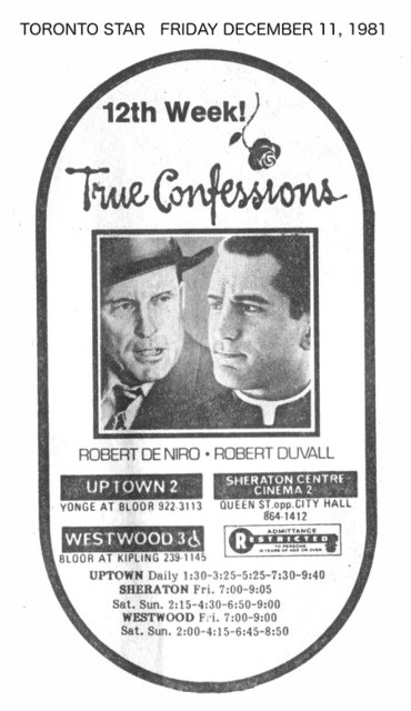 "TORONTO STAR AD FOR ""TRUE CONFESSIONS"" SHERATON CENTRE CINEMA 2 AND OTHER THEATRES"