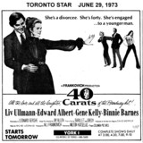 "TORONTO STAR AD FOR ""40 CARATS"" YORK 1 THEATRE"