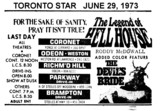 "TORONTO STAR AD FOR ""THE LEGEND OF HELL HOUSE"" CORONET AND OTHER THEATRES"