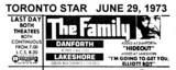 "TORONTO STAR AD FOR ""THE FAMILY"" DANFORTH AND LAKESHORE THEATRES"