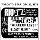 TORONTO STAR AD FOR TRIPLE FEATURES AT THE RIO