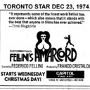 "TORONTO STAR AD FOR ""AMARCORD"" CAPITOL THEATRE"