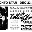 "TORONTO STAR AD FOR ""THE ROLLING STONES A FILM CONCERT"" CINECITY"