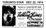 """TORONTO STAR AD FOR """"THE ROLLING STONES A FILM CONCERT"""" CINECITY"""