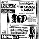 "TORONTO STAR AD FOR ""THE SAVAGE IS LOOSE and DON'T JUST LIE THERE SAY SOMETHING VARSITY 1 & 2"