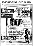 """TORONTO STAR AD FOR """"THE SAVAGE IS LOOSE and DON'T JUST LIE THERE SAY SOMETHING VARSITY 1 & 2"""
