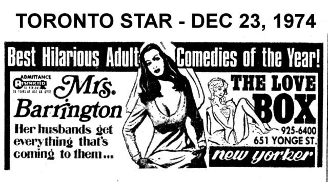 "TORONTO STAR AD FOR ""MRS. BARRINGTON"" - NEW YORKER THEATRE"