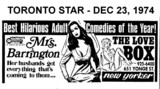 "TORONTO STAR AD FOR ""MRS. BARRINGTON"" - NEW YORKER THEATRE"