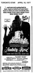 """TORONTO STAR AD FOR """"AUDREY ROSE"""" IMPERIAL SIX THEATRE"""