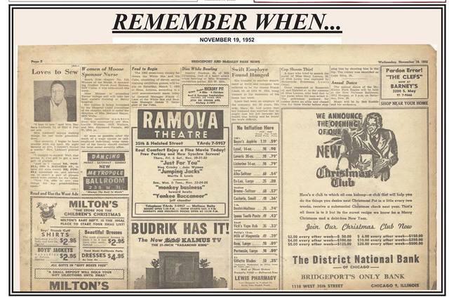 Ramova ad in Bridgeport News dated Nov. 19, 1952