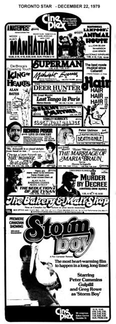 TORONTO STAR AD FOR CINEPLEX DEC 1979