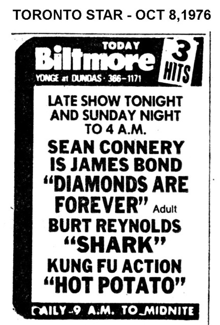 """TORONTO STAR AD FOR """"THE BILTMORE THEATRE"""" 3 FEATURES"""